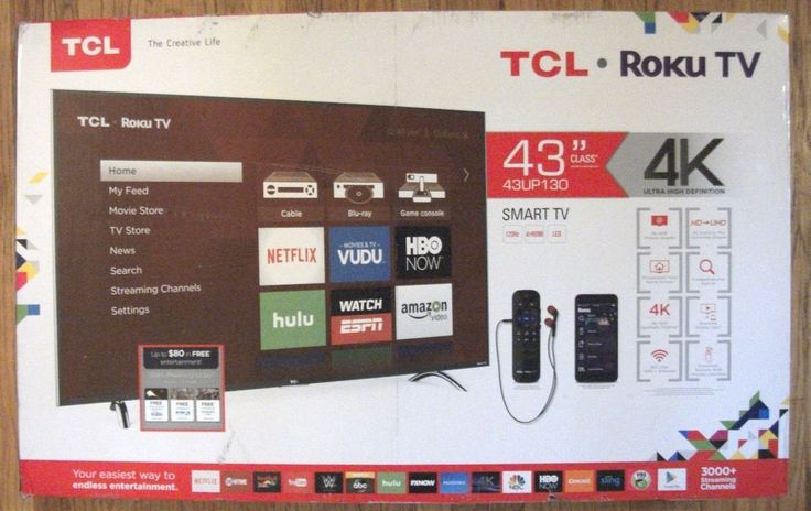 TCL 43 Inch 2160p 4K Integrated Roku UHDTV LED Television 43UP130. Brand New!