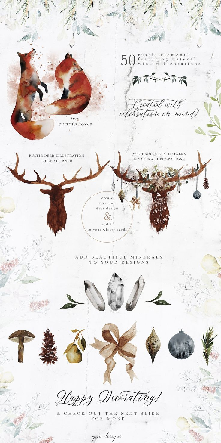 Frostbound Festive Edition + font by OpiaDesigns on @creativemarket This edition of Frostbound had been created with celebration in mind. In this pack you have everything you need to create festive stationary or digital good but with a nice organic and natural feel to it. I opted for warm hues of gold, beige, dusted orange and greys to conjure the winter magic in a raw natural way, just the way nature intended.