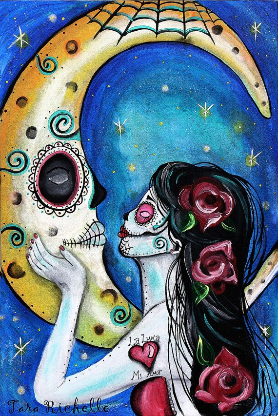 sugar skull, dia de los muertos,day of the dead, the moon,la luna, tattoo, mosaic, mexican, art, wall art, decor, moon painting, moon art