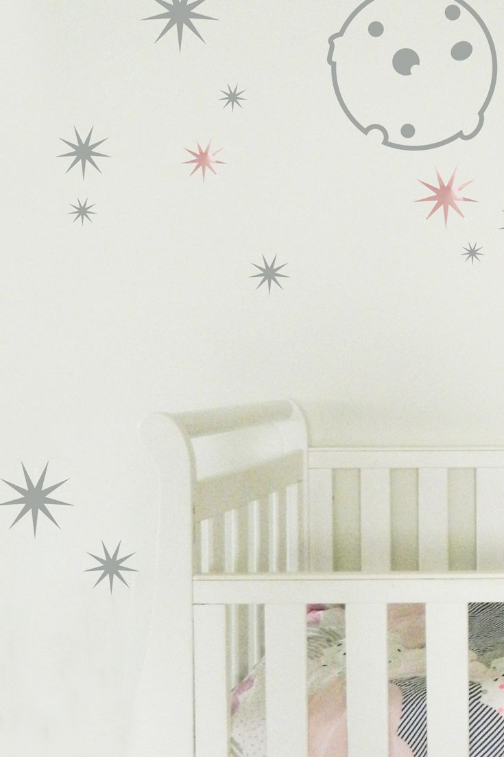 Brighten up your nursery walls. Moon and Stars removable wall stickers. Available in silver and rose gold. https://www.moonfacestudio.com.au/product-page/stars-and-moon-pattern-vinyl-wall-sticker-decal