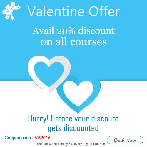 Now it's 20% #discount on online courses in IT, Technology, Finance and Management domains.  Hurry up before your discount gets discounted! | #Valentineoffer know more at http://goo.gl/Counf9 | *Avail Today, discount will reduce by 5% everyday till 14th Feb