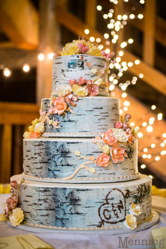 Rustic or Woodland Wedding Cake. Love the carved initials!