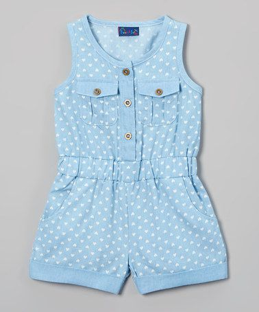 Look at this #zulilyfind! Light Blue Chambray Hearts Romper - Infant & Toddler #zulilyfinds