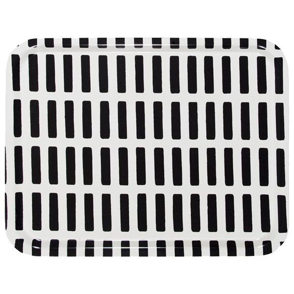 Siena tarjotin, valko-musta, 43 x 33 cm