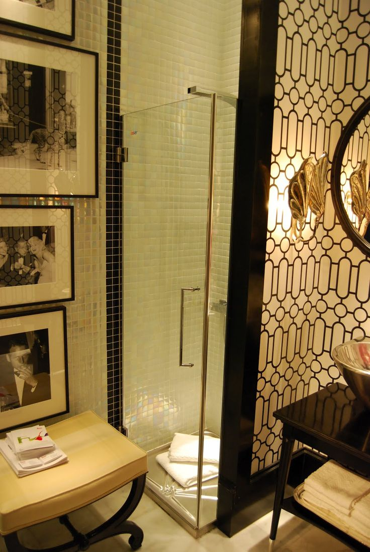 Black and white art deco bathroom - That One Line Of Black Tile Running Up The Small Shower Bathroomart Deco