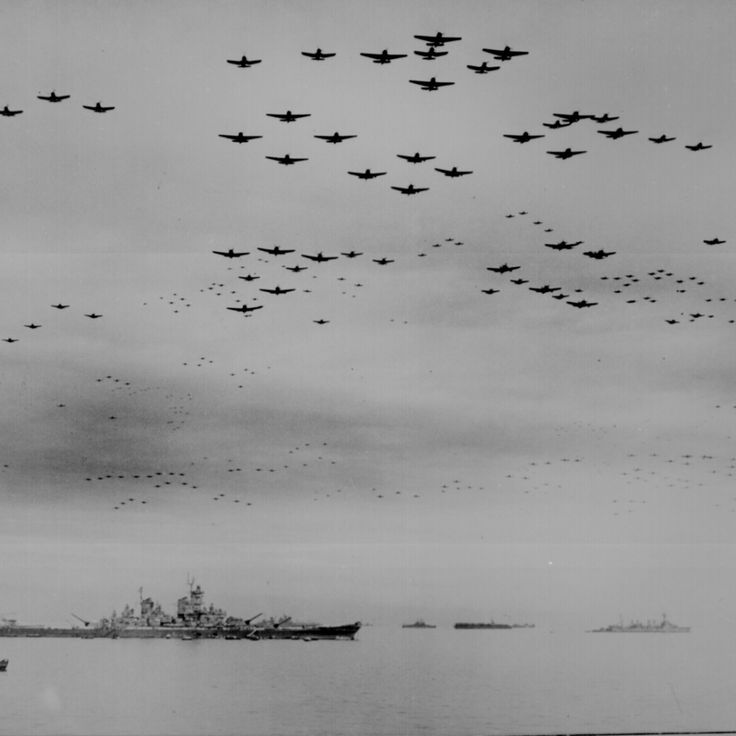 Probably the best picture I've ever seen of planes and ships during WW II. Wow.