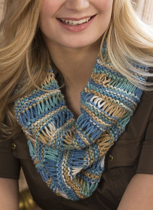 Free Knitting Pattern for One Skein Drop Stitch Cowl - This easy cowl by Red Heart features a drop stitch pattern that looks great in multi-colored yarn. Uses just one ball of the recommended yarn.