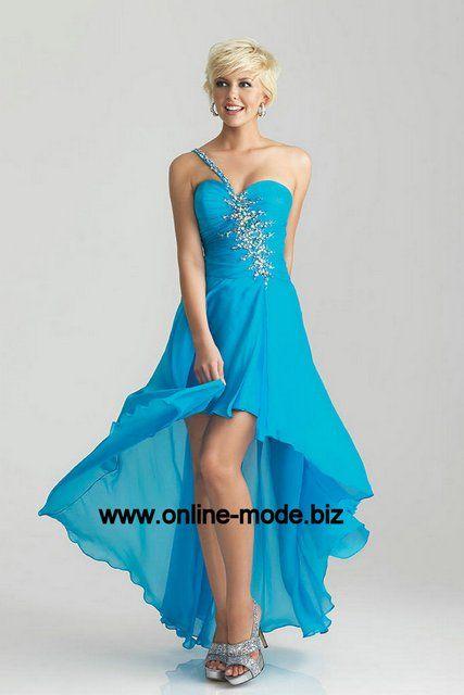 Vokuhila Kleid Abendkleid in Hell Blau mit Diana Träger von www.online-mode.biz