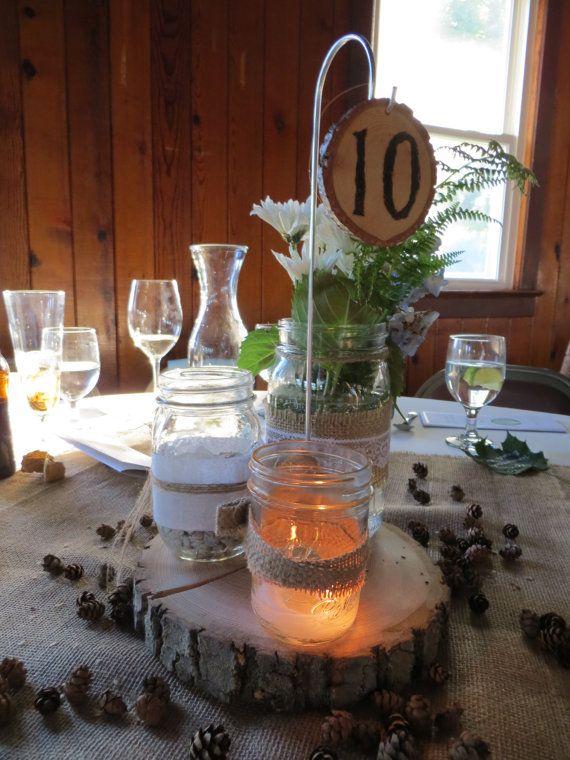 Ten medium tall wood slice centerpiece hanging table