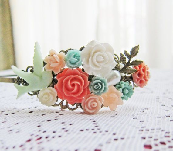 Mint Green Coral Wedding Headband Hairband Bridesmaid Gift Peach Pink Turquoise Aqua Mint Bridal Head Piece Floral Flower Soft Pastel Colors