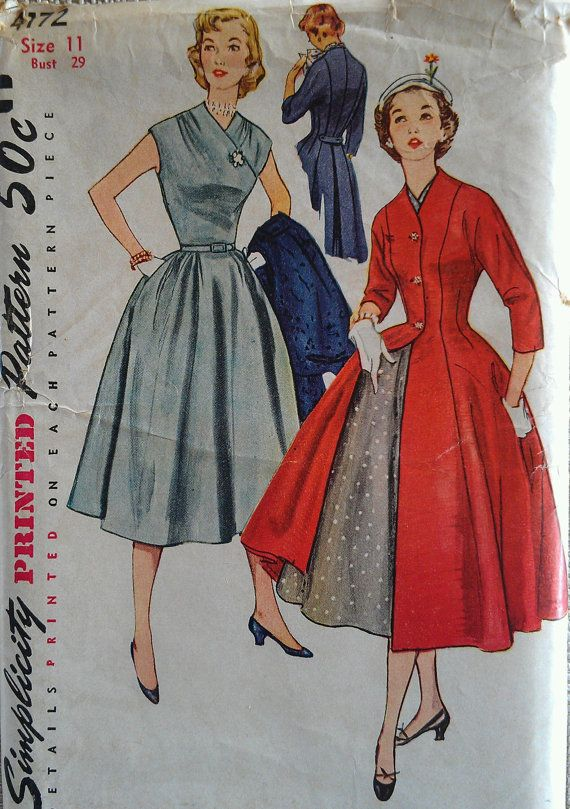 Vintage New Look Surplice Cap Sleeve Full Skirt Dress Button Front Pleated Princess Coat Sewing Pattern 4172