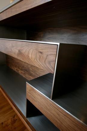 Walnut and stainless steel piece from bespoke New Zealand furniture design company Cruikshank.