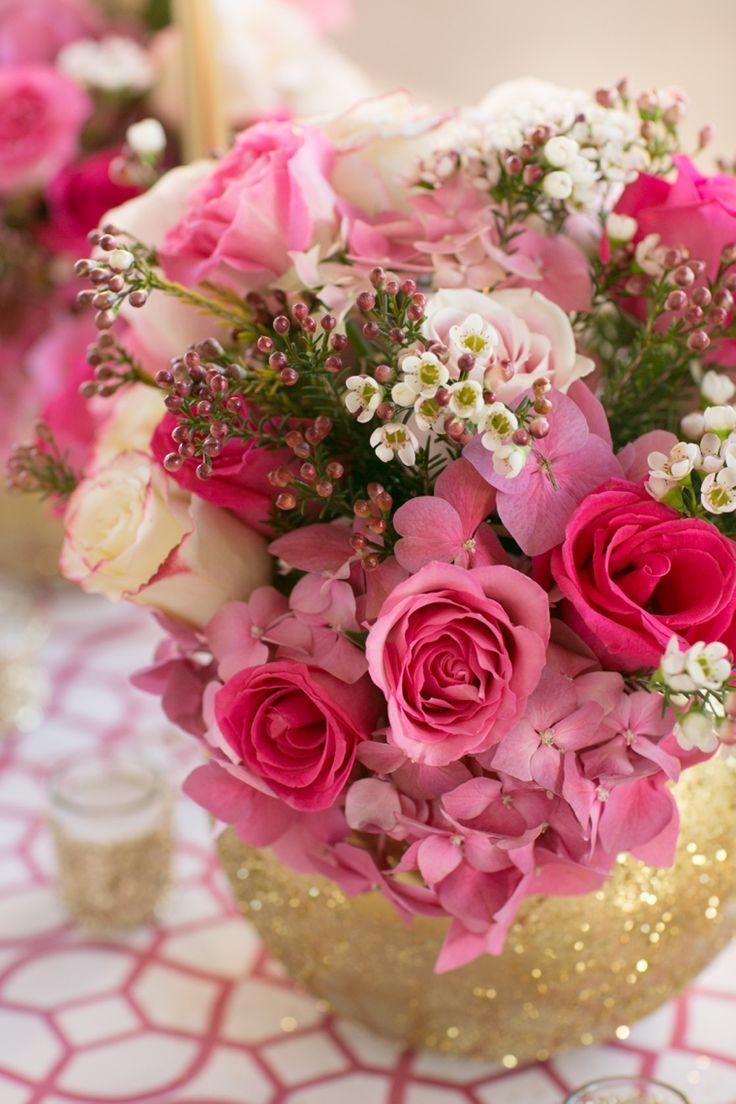 Floral Arrangement | Modern, Chic,  Pink and Gold Wedding Ideas