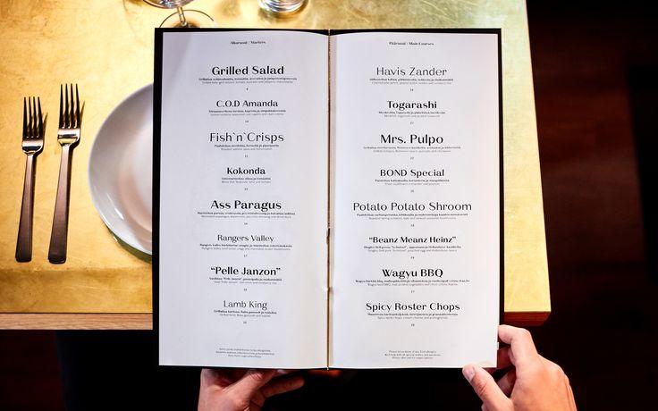 Branding and menus by Bond for Helsinki bar and restaurant Roster