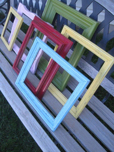 colorful upcycled frames: Upcycling