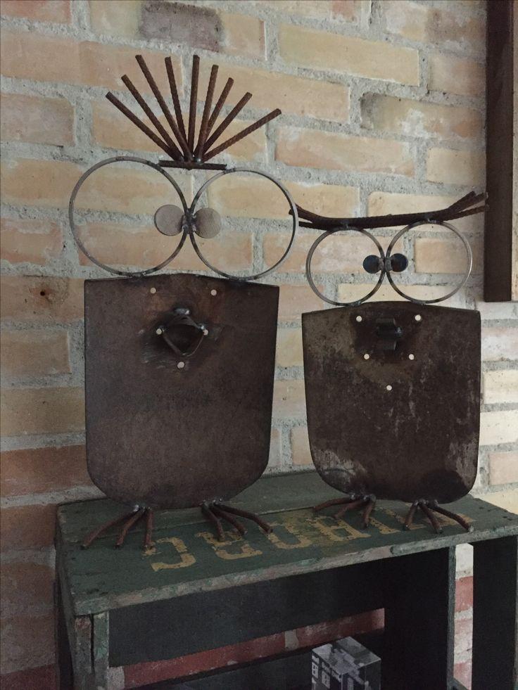 Owls made of old shovel. Homemade.