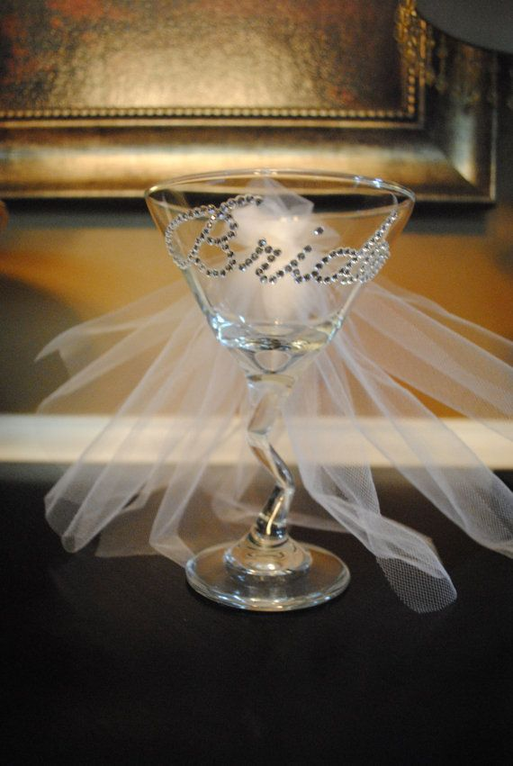 love this for a bridal shower bachelorette or wedding gift! 15% off right now use code PINTEREST15  Wedding Bride Martini Glass via Etsy