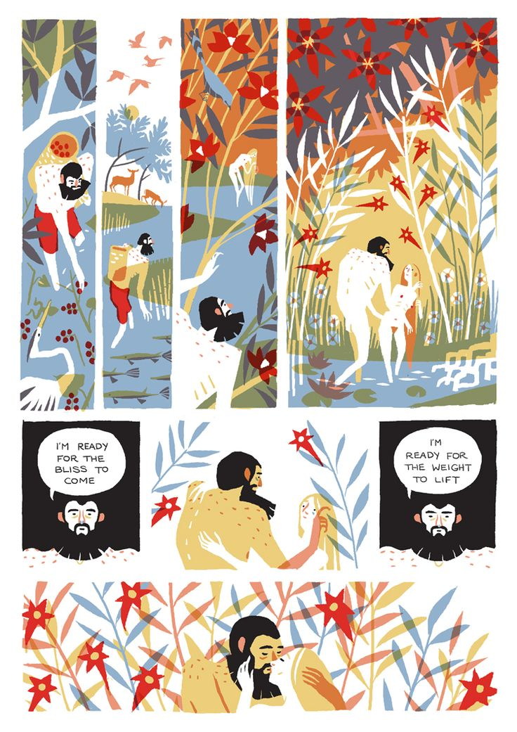 In Our Eden by Eleanor Davis--- please check out full comic at http://doing-fine.com/?p=1105 , it's a beautiful work. - limited colour comic