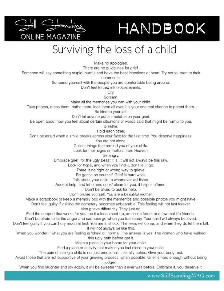 """For parents who have lost a child or for any loss: About surviving the loss of a child. Except the """"signs from heaven"""" ...I would add to focus on paradise as much as possible. And social activities and being with supportive friends is so important. Because most of us know someone who have lost a child or a dear loved one."""