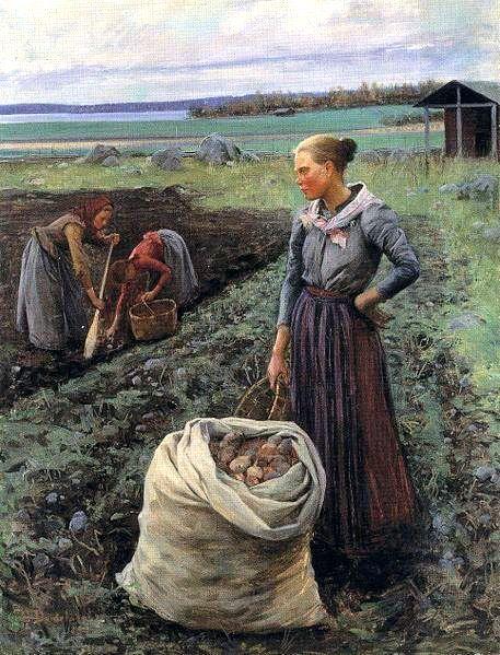 Elin Kleopatra Danielson-Gambogi (Finnish, 1861-1919) Potato harvest - Finland