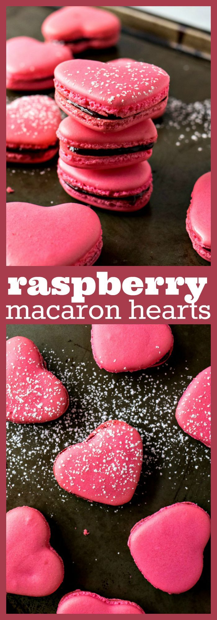 Raspberry Macaron Hearts – Classic french raspberry macarons are given a Valentine's Day makeover by shaping them into lovely hearts. Perfect to share with the one you love! #recipe #valentinesday #macarons #hearts #raspberry #cookies