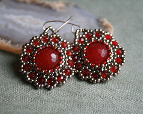 red ruby earrings beaded earrings jade earrings by koralikowyraj