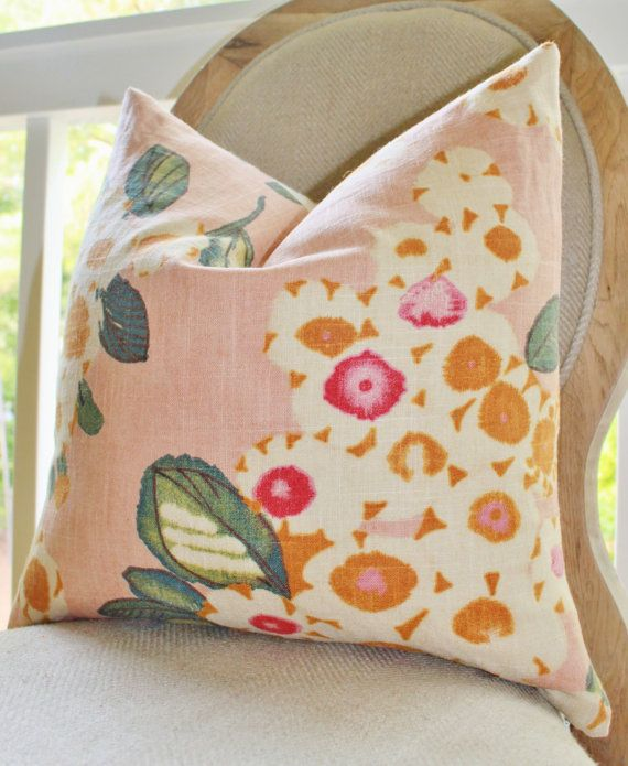 Reserved Decorative Pink Pillow Floral Pink by MotifPillows