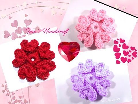 crochet flower with hearts No 19