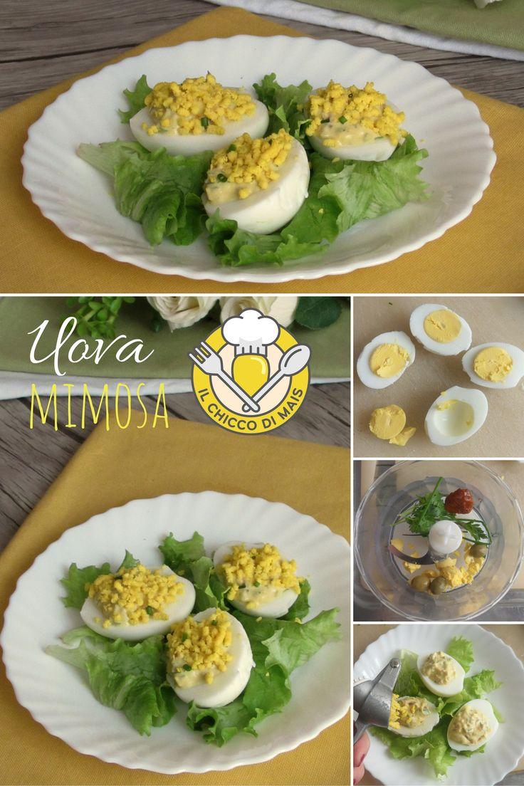 Uova mimosa, #antipasto semplice e sfizioso per la festa della donna. Scopri la #ricetta passo passo: https://blog.giallozafferano.it/ilchiccodimais/uova-mimosa-farcite/