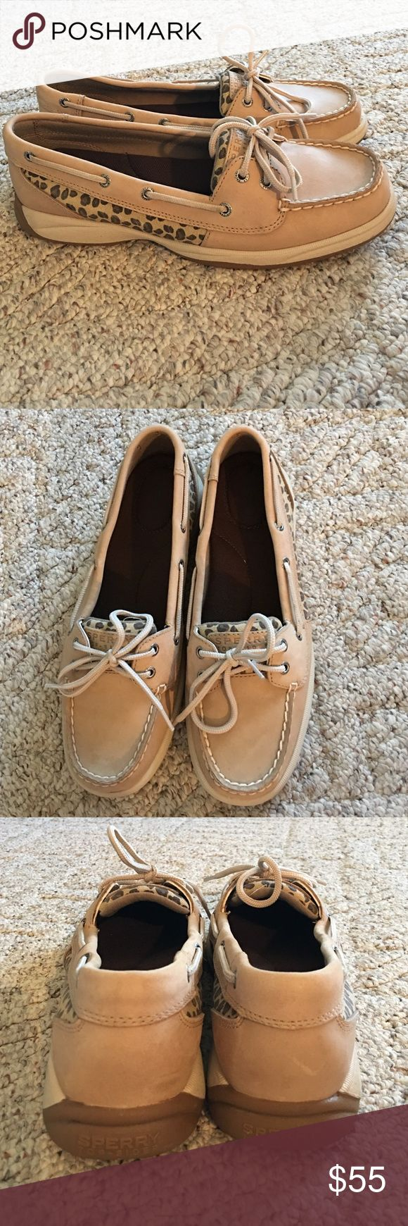 Leopard/tan Sperrys Worn once! In great condition! Sperry Shoes Flats & Loafers