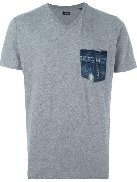 DIESEL Denim Pocket Detail T-Shirt. #diesel #cloth #t-shirt