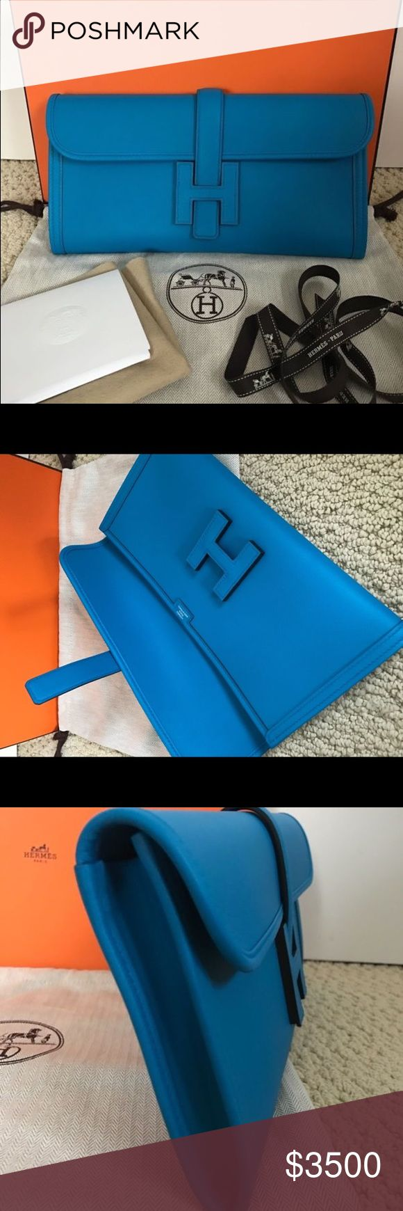 Hermes Swift Leather H Logo Clutch Handbag Brand New 100% Authentic Hermes Jige Zanzibar Blue Swift Leather H Logo Clutch Handbag Hermes Bags Shoulder Bags
