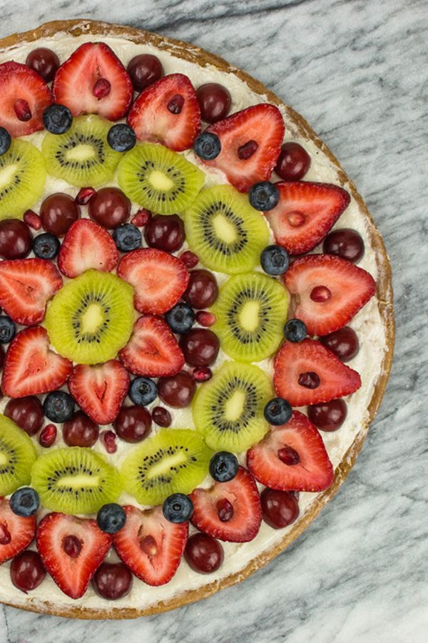 #Dairyfree fruit pizza! Make it with a Gluten Free sugar cookie crust, and our Strawberry Cream Cheese Style Spread.