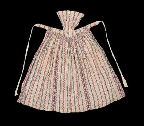 "Farmer's apron. Probably not 18th century (and certainly not ""farmer only), but this type of aprons is typically 18th"