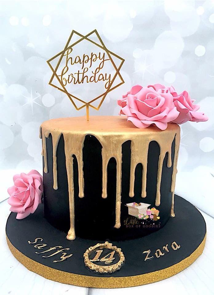 Black And Gold Drip Cake Geburtstagstorte Mit Blumen Rosa