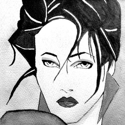 *Vrouwenportret,  aquarel op papier*