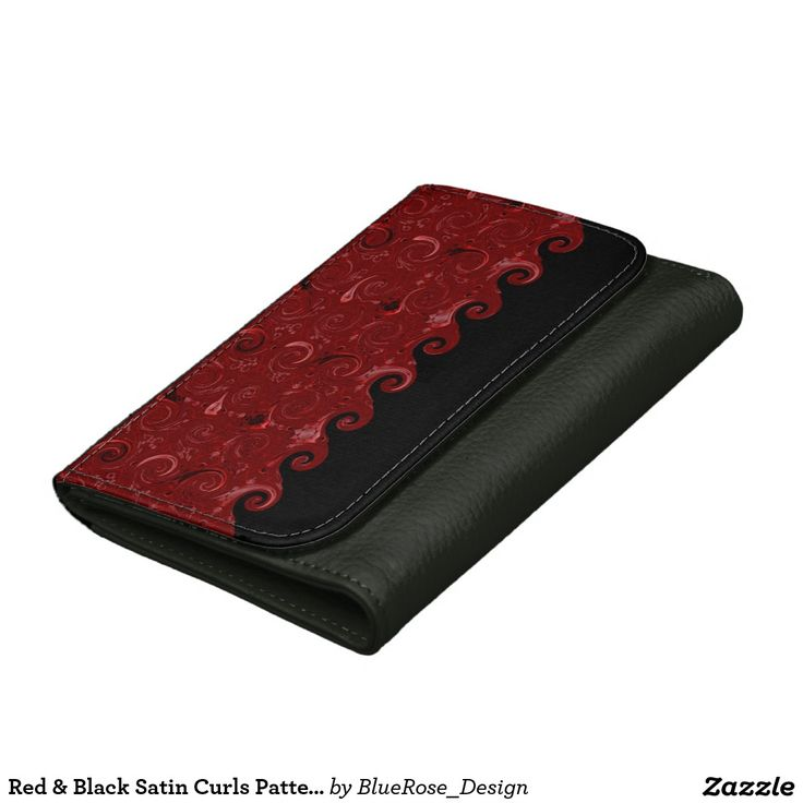 Red & Black Satin Curls Pattern Leather Wallet