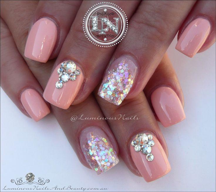 Luminous Nails: Peachy Marshmallow Acrylic & Gel Nails