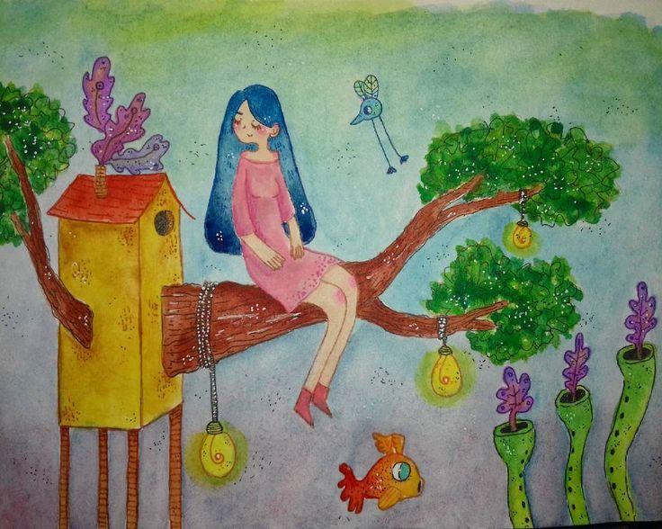 """68 Me gusta, 3 comentarios - Ñaña (@ferniska) en Instagram: """"#watercolor #aquarelle #acuarela #wip #workinprogress #dibujo #draw #doodle #dessin #_artshow_…"""""""