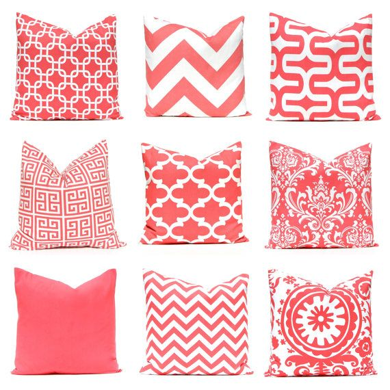 Coral Throw Pillow Covers, Coral Nursery, Decorative Coral Pillow Covers 12 x 16 or 12 x 18 Beach Decor Coral Collection Mix and Match