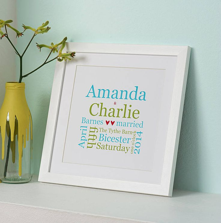 Personalised Wedding Typographic Print from notonthehighstreet.com