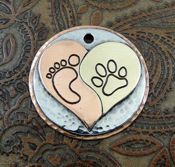 Ying Yang Heart Pendant-Dog ID Tag-Custom Dog Collar ID Tag-Handmade Ying Yang Heart Pendant