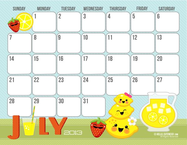 Our family LOVES these free printables from hellocuteness!  Each monthly calendar puts a smile on each of our faces.