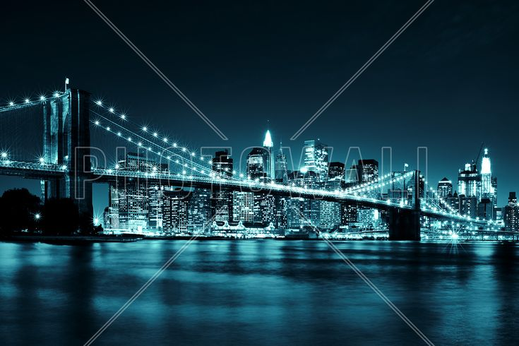 Brooklyn Bridge - Blue - Fototapeter & Tapeter - Photowall