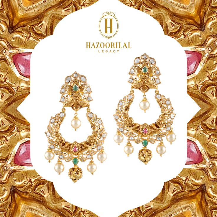 #TheGoldenEssence : An entrancing combination of Indian tradition and modern elegance. #HazoorilalLegacy #Hazoorilal #Jewelry #Gold #Earrings — at @south Extension Part -2.