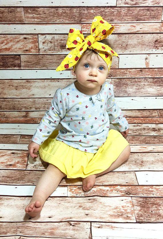 1930b655376 Daisy Lady Bug Headwrap- Headwrap Lady Bug Head Wrap Baby Head Wrap Baby  Headwrap Yellow Head Wrap Lady Bug Headband Toddler Headwrap