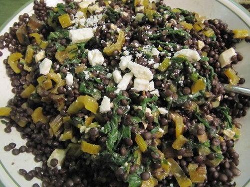 Warm Lentil Salad with Swiss Chard, Feta and Red Wine-Black Pepper Vi ...