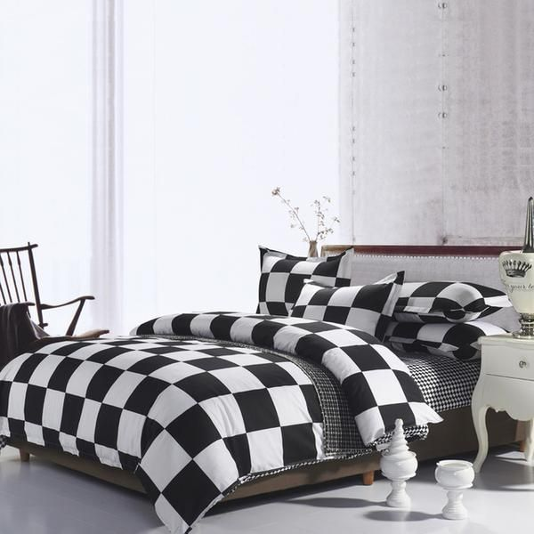 Gothic Grunge Black And White Checkered Bedding Set Linencloset Bed Linens Luxury King Size Bed Linen Cool Beds