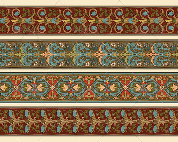 GraphicRiver Set of Four Decorative Borders Ornamental 4736662