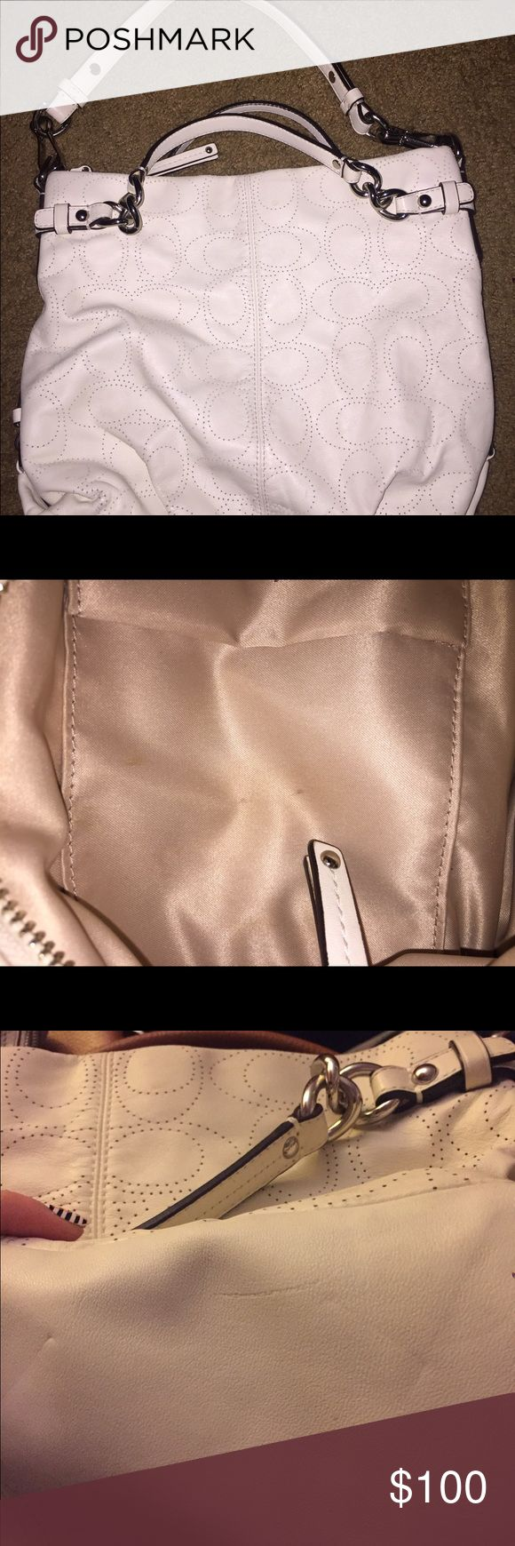 Coach leather handbag Great condition. Small mark on the inside. Picture shown and small marks on bottom show. Leather cream white color. Coach Bags Shoulder Bags